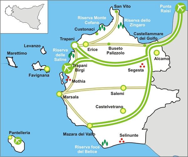 Mappa cartina della provincia trapani con le principali arterie ss